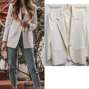 Vintage Oversized Off White 100 % Wool Blazer